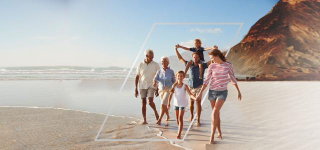 multi-generational family on beach